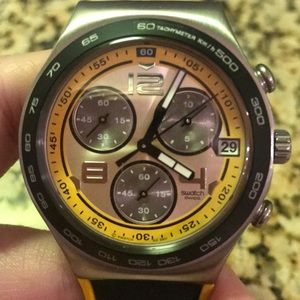 Swatch Watch with black and yellow silicone bands